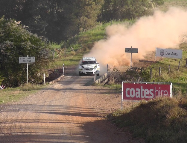 Kiwi, Hayden Paddon at competition pace in his S2000 Skoda Fabia. WRC Rally Australia 2013.