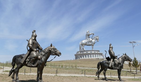 enormous statue Chinggis Khan on horse best of Mongolia